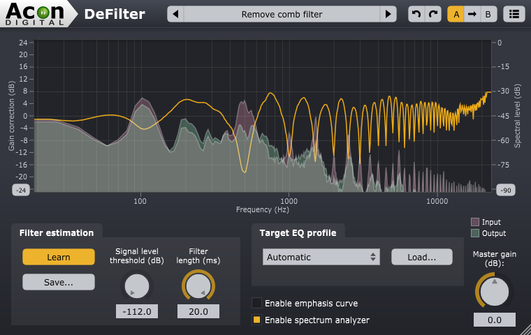 Screenshot of Acon Digital DeFilter