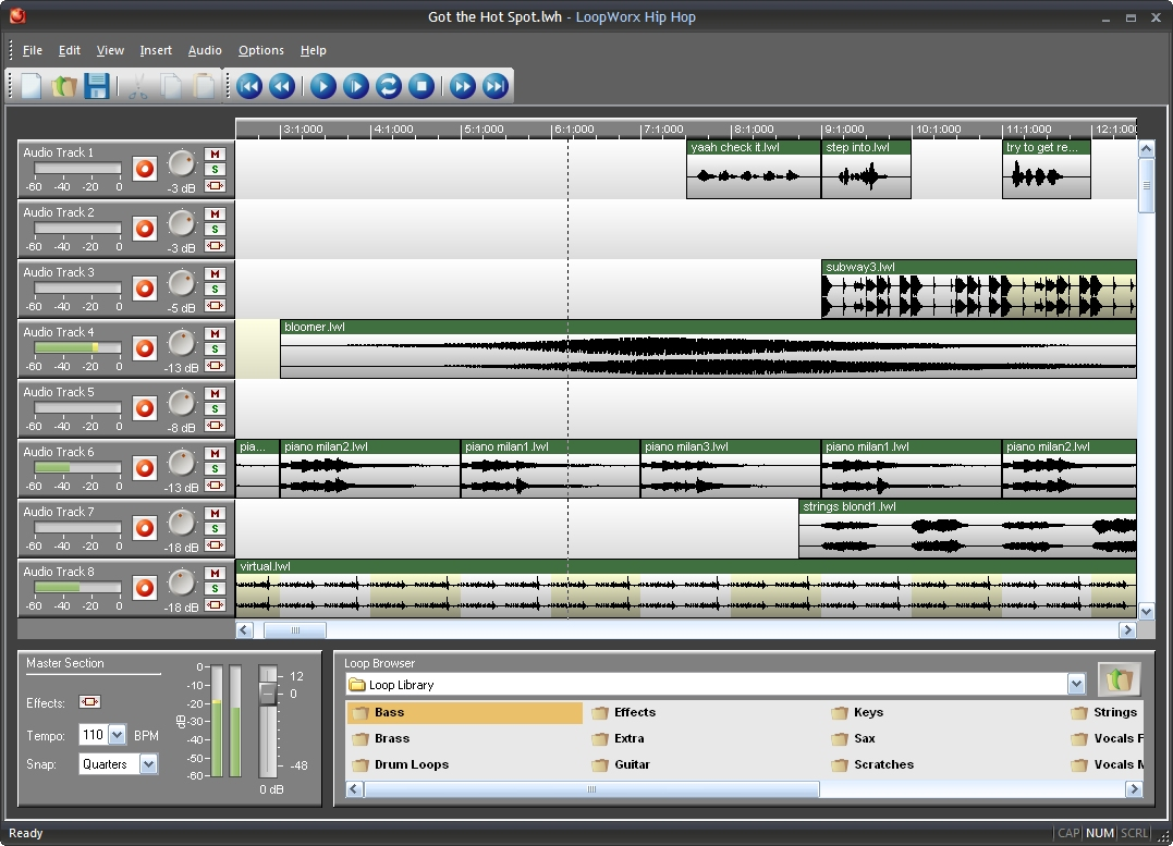 Create and mix your own rock music with a large set of included loops.