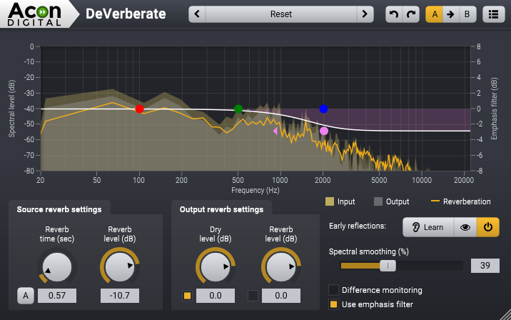 DeVerberate, VST & AU plug-in for reverb reduction (de